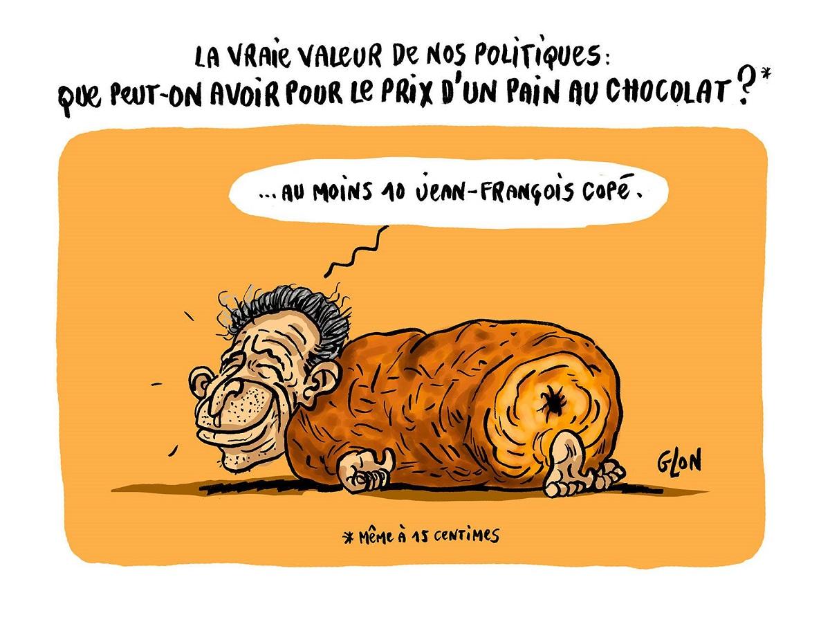 dessin humoristique de Jean-François Copé en pain au chocolat
