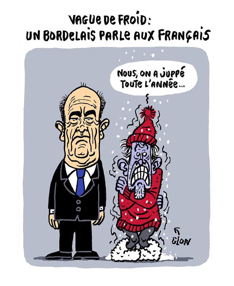 dessin drôle d'un Bordelais parlant du glaçant Alain Juppé
