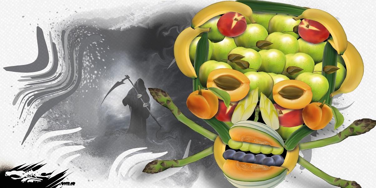 dessin humoristique d'une tête de mort faite avec des fruits et des légumes traités aux pesticides
