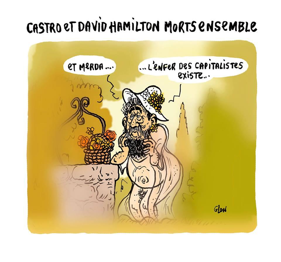 dessin humoristique de Fidel Castro en photo de David Hamilton