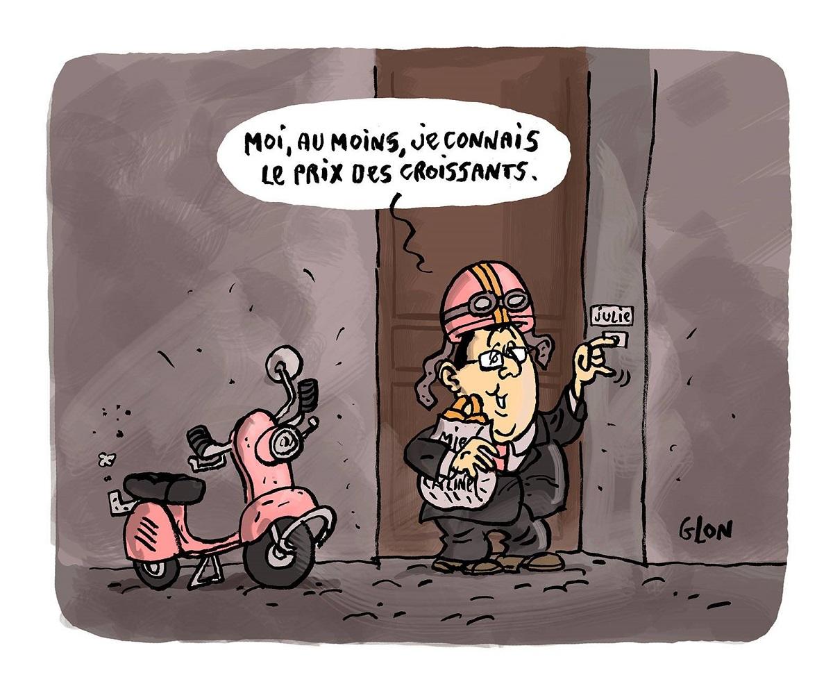 dessin drôle de françois Hollande avec son scooter rose en train d'amener des croissants à Julie Gayet