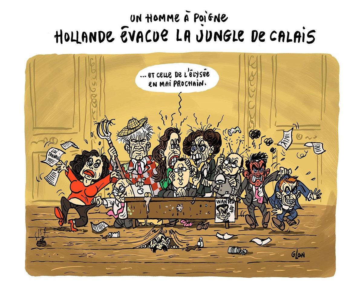 dessin humoristique de la jungle gouvernementale à l'Élysée