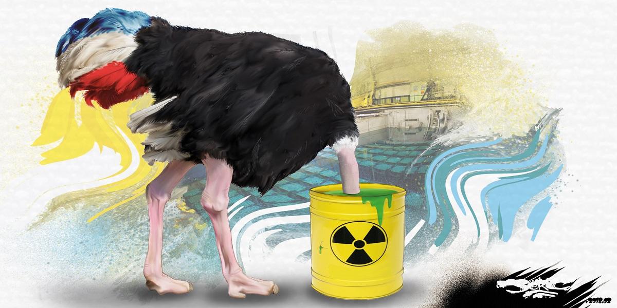 dessin humoristique de la France en autruche qui s'enfouit la tête dans les déchets nucléaires