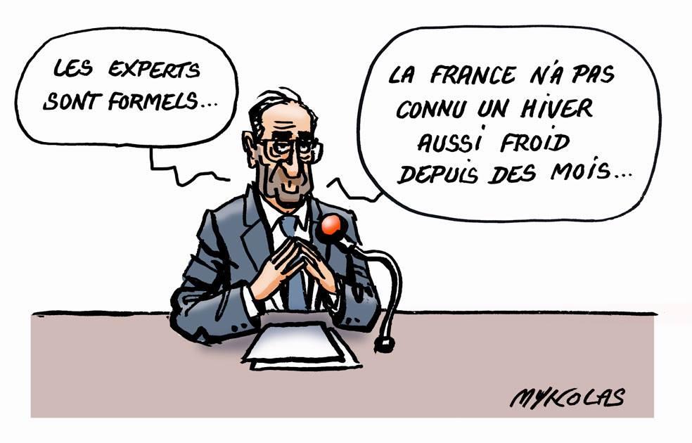 dessin humoristique d'un homme politique parlant de la vague de froid en France