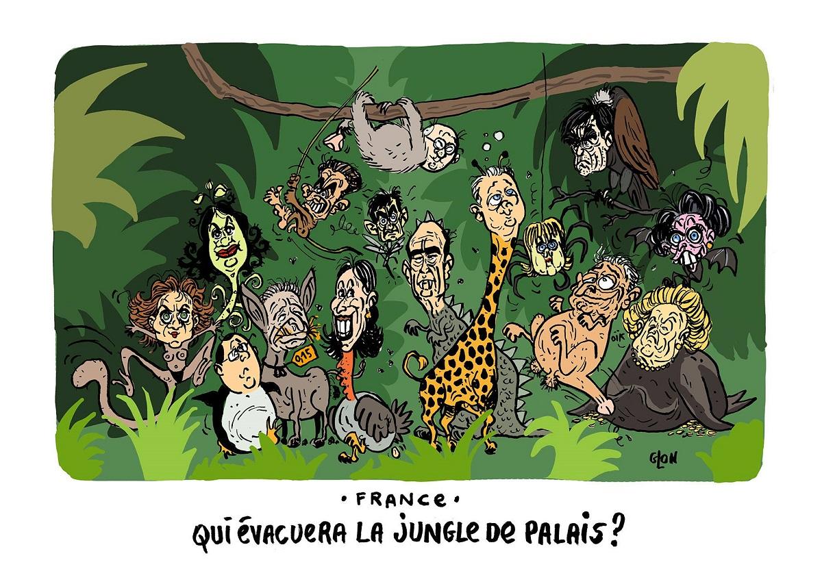 dessin humoristique des personnalités politiques françaises dans la Jungle de Calais