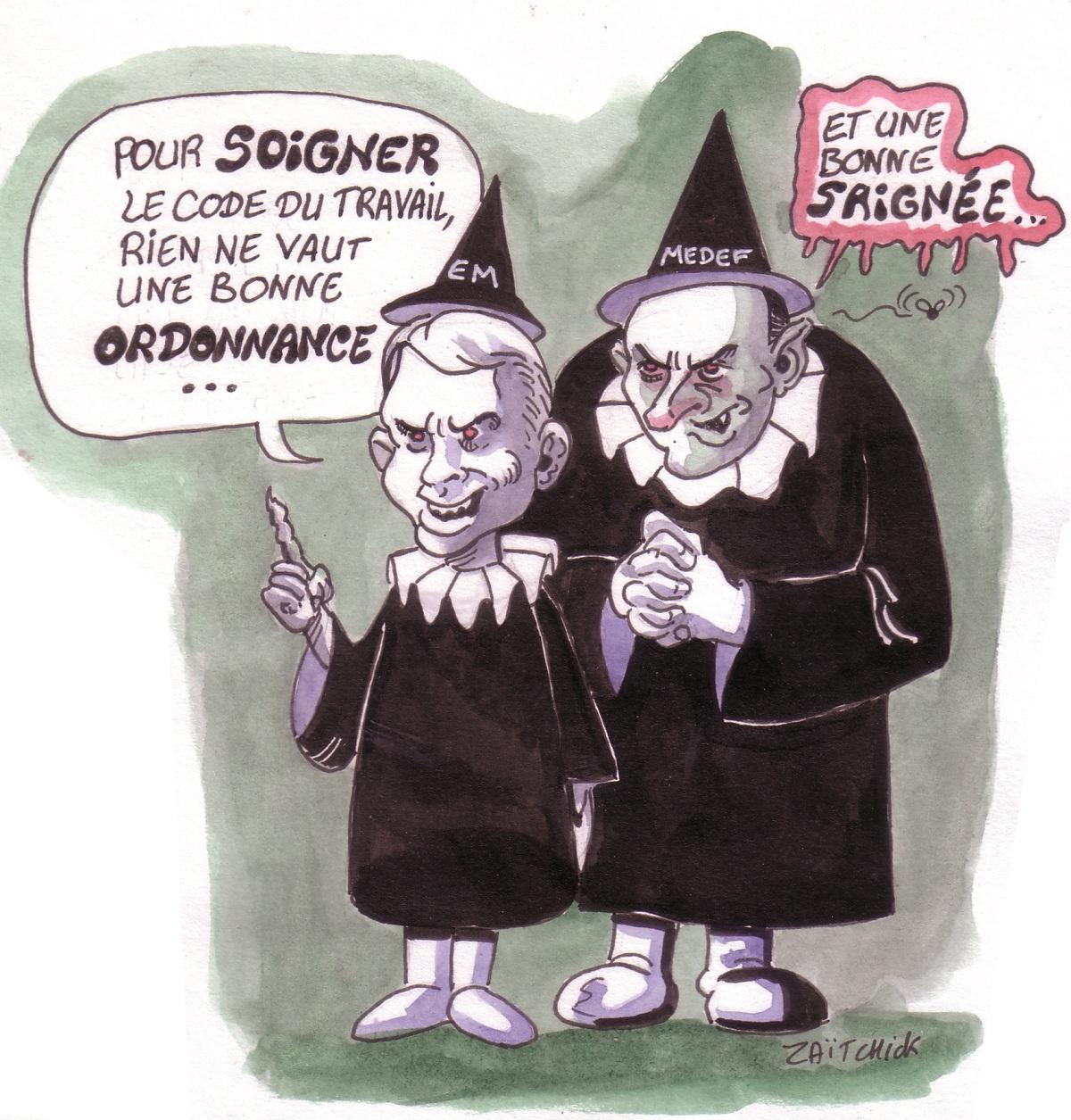 dessin humoristique d'Emmanuel Macron et de PIerre Gattaz en anciens médecins préconisant une saignée du Code du travail par ordonnances