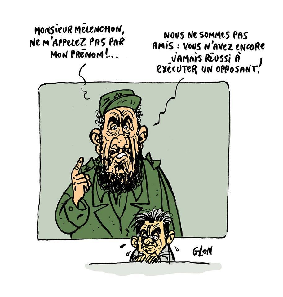 dessin humoristique de Jean-Luc Mélenchon en train de se faire réprimander par Fidel Castro