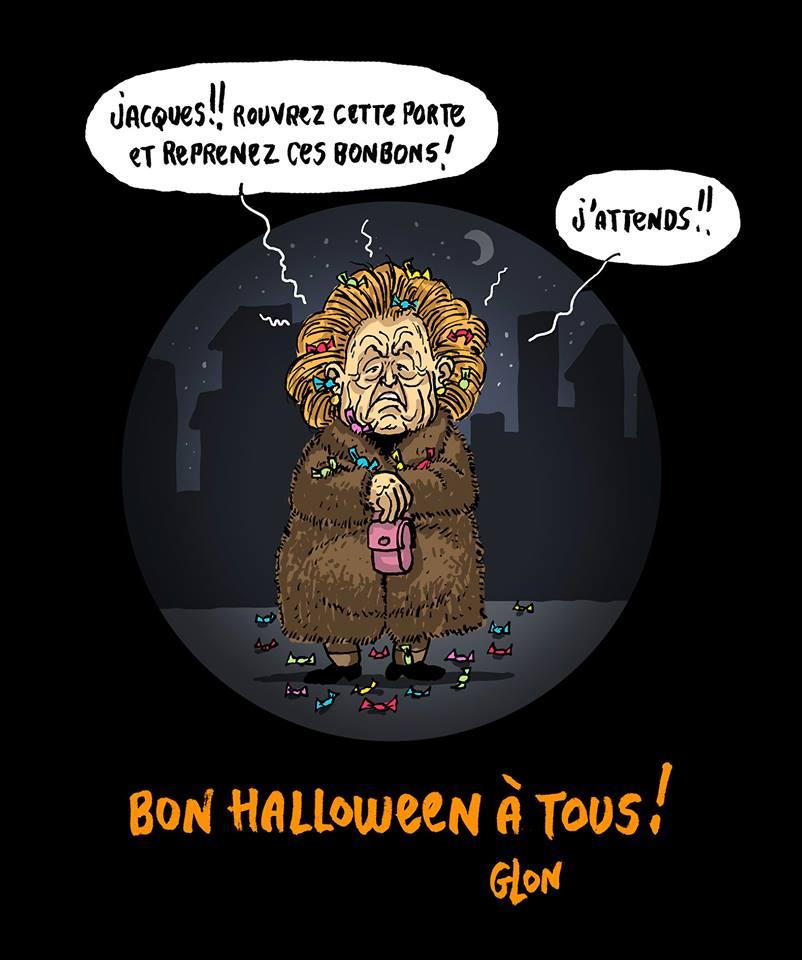 dessin drôle de Bernadette Chirac à la porte avec des bonbons comme un monstre d'Halloween