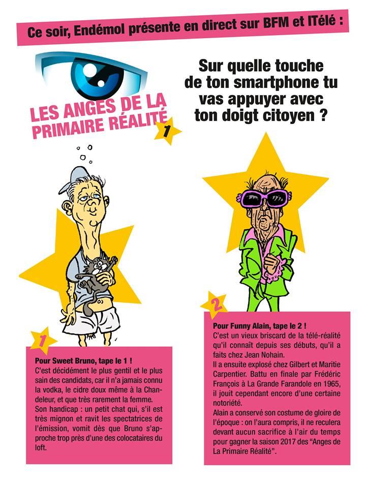 dessin humoristique de Bruno Le Maire et d'Alain Juppé en candidats de la télé-réalité