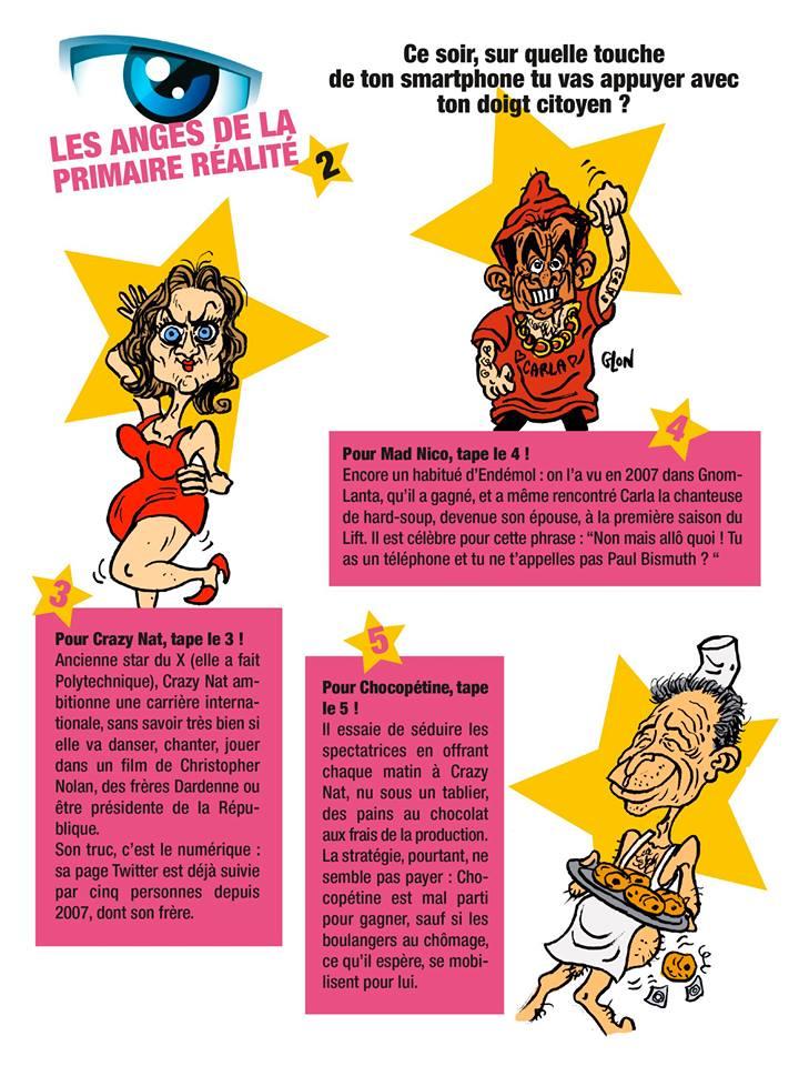 dessin humoristique de Nathalie Kosciusko-Morizet, Nicolas Sarkozy et Jean-François Copé en candidats de la télé-réalité