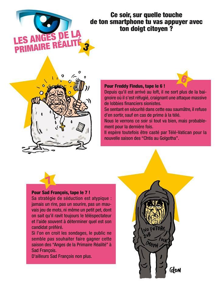 dessin humoristique de Jean-Frédéric Poisson et François Fillon en candidats de la télé-réalité