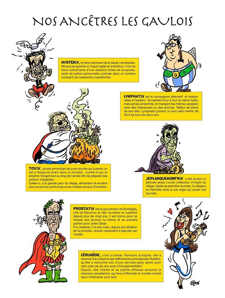 dessin humoristique des politique français en habitants du village gaulois d'Astérix