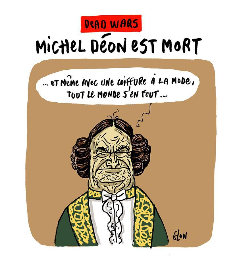 dessin humoristique de Michel Déon coiffé comme la Princesse Léïa