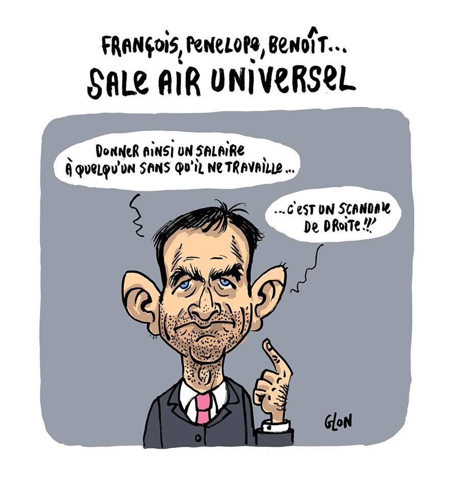 dessin humoristique de Benoît Hamon qui parle de son revenu universel