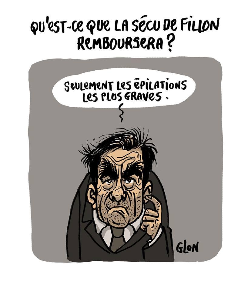 dessin humoristique de François Fillon parlant des remboursement de la Sécurité Sociale