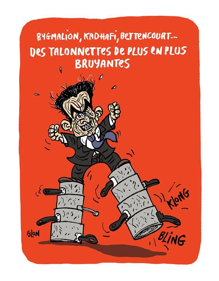 dessin humoristique de Nicolas Sarkozy avec des casseroles bruyantes comme talonnettes