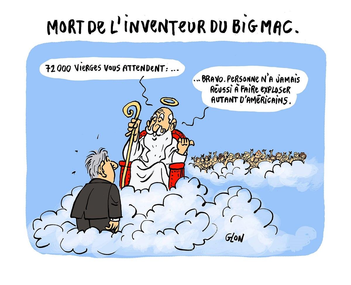 dessin drôle de l'inventeur du Big Mac récompensé par 72.000 vierges pour avoir fait exploser énormément d'Américains