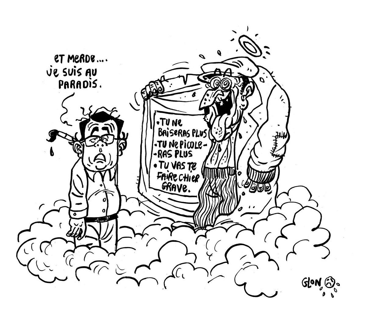 dessin humoristique de Gotlib au Paradis accueilli par Pervers Pépère