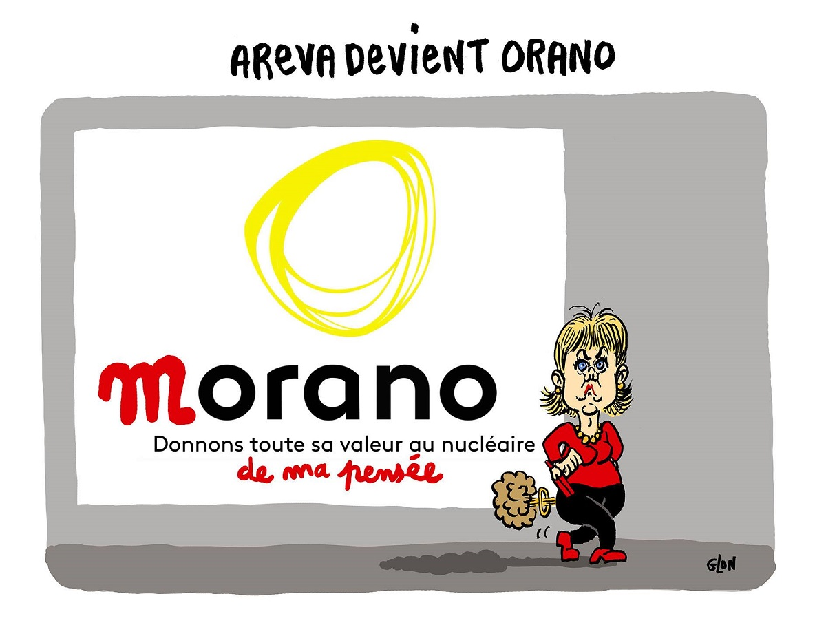 dessin humoristique de Nadine Morano qui vient de modifier le logo de l'entreprise Orano, anciennement Areva