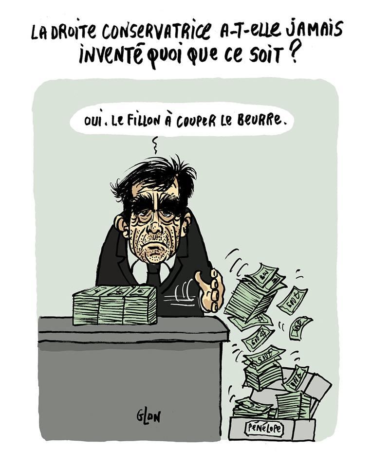 dessin humoristique de François Fillon en train de détourner de l'argent pour Penelope