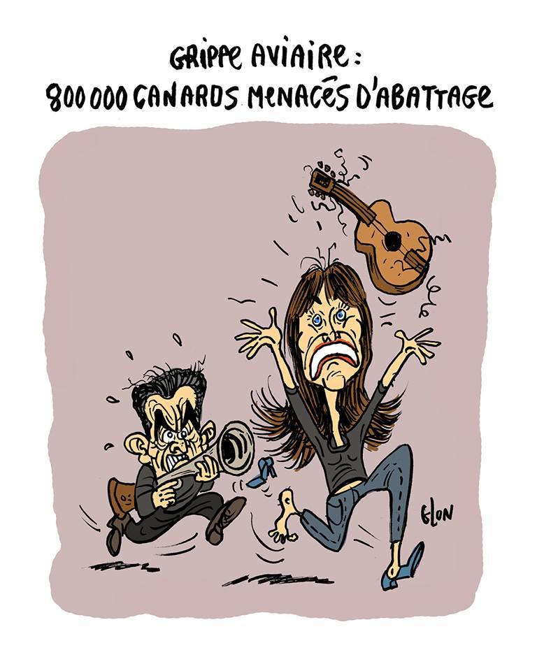 dessin humoristique de Nicolas Sarkozy poursuivant Carla Bruni avec un fusil