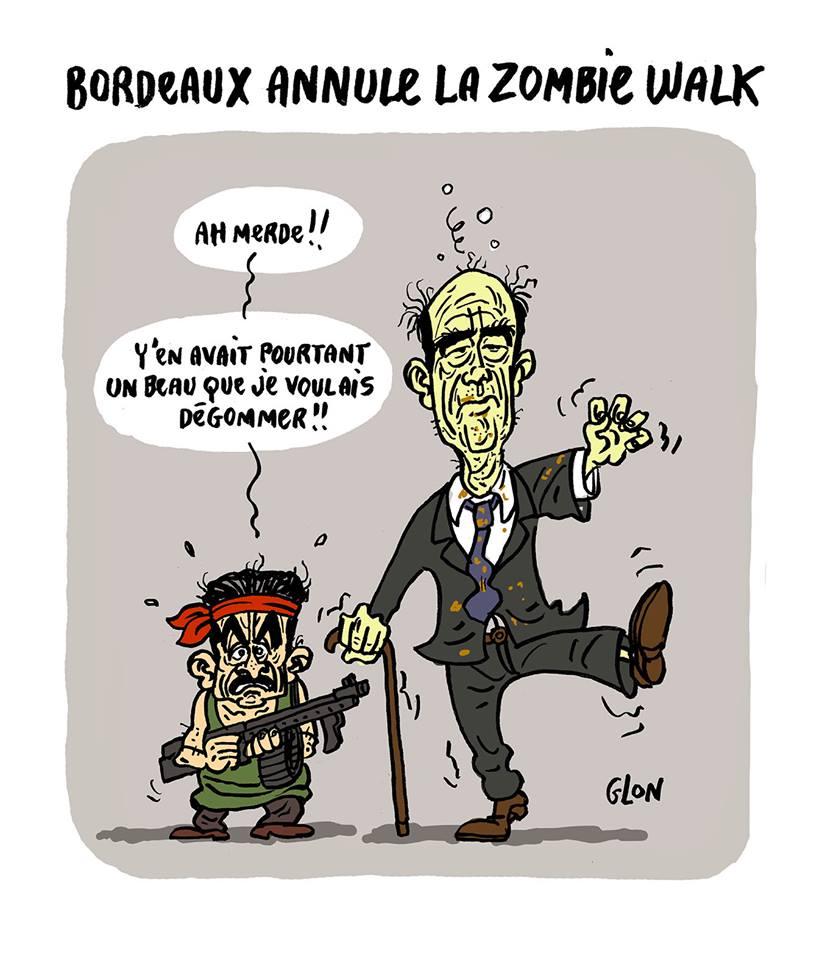 dessin humoristique d'Alain Juppé en zombie que Nicolas Sarkozy veut dégommer