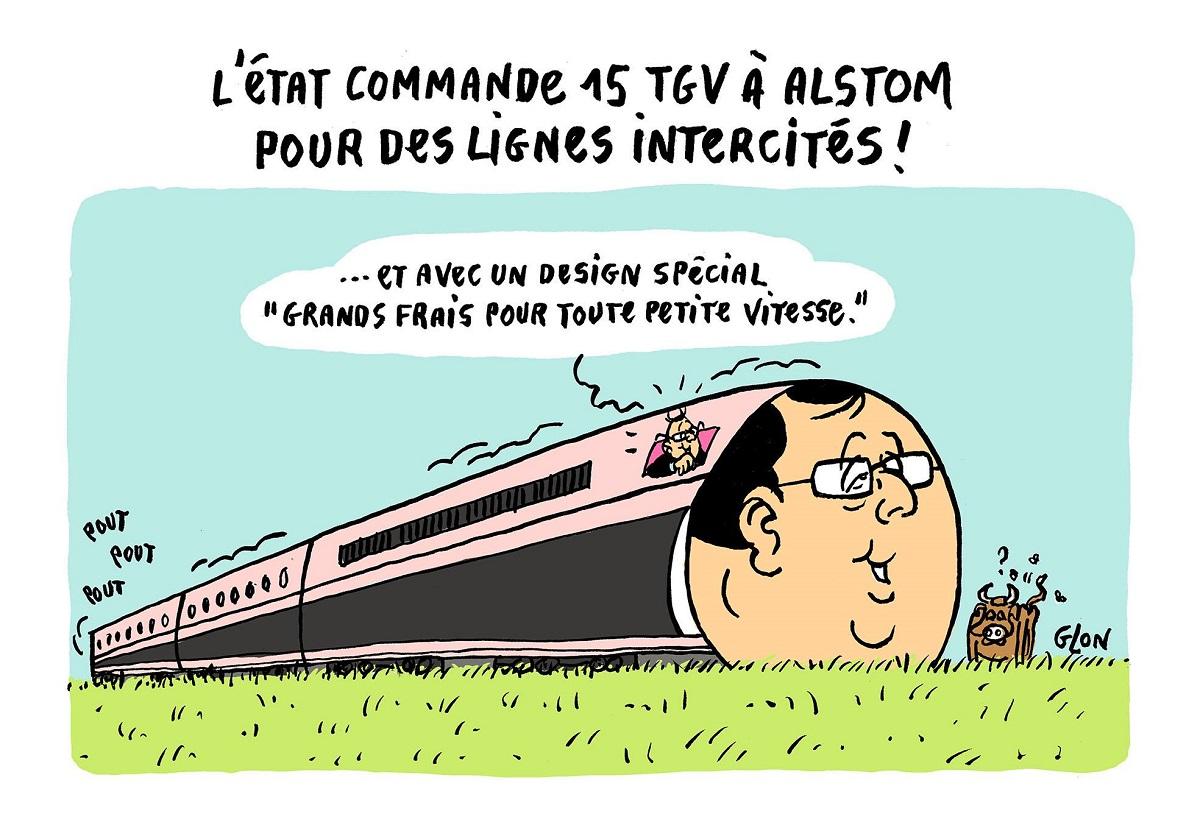 """dessin humoristique de François Hollande aux commande du nouveau TGV """"François Hollande"""""""