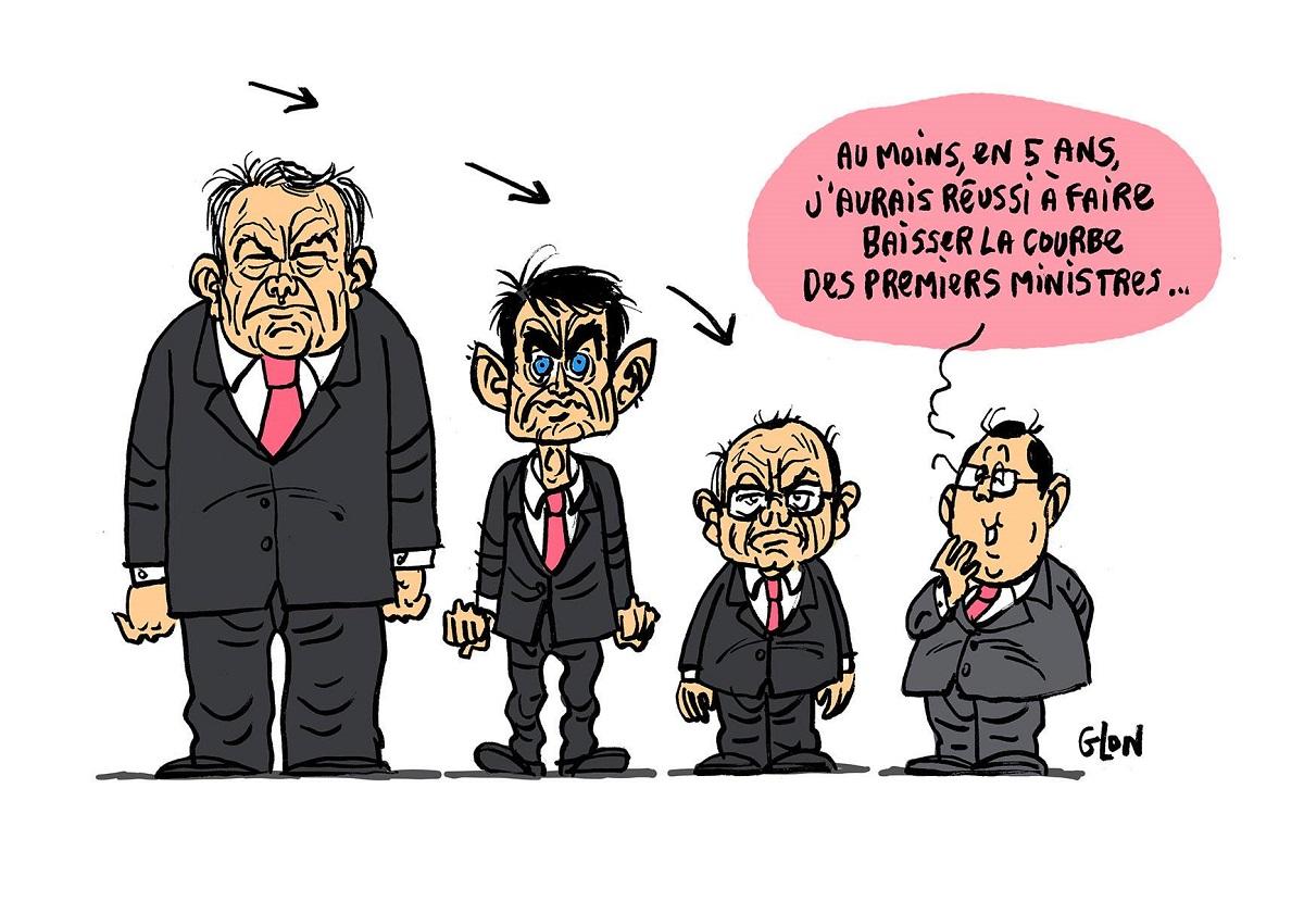 dessin humoristique de François Hollande et ses trois Premiers Ministres