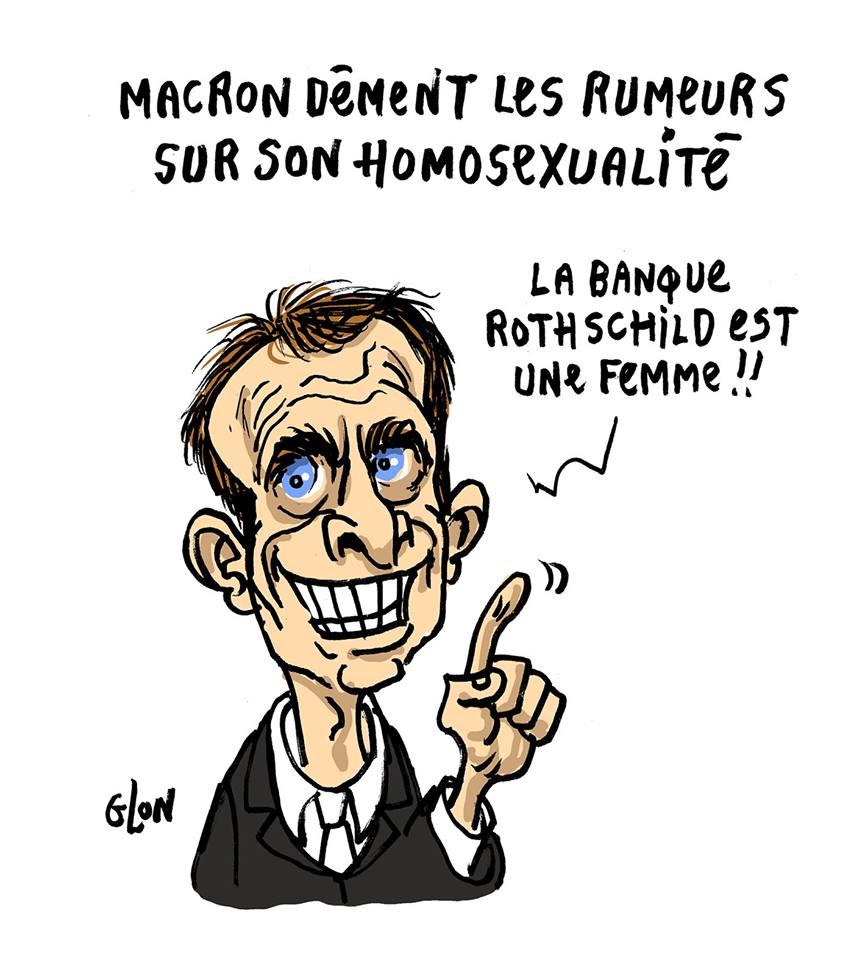 dessin humoristique d'Emmanuel Macron qui parle de sa sexualité avec la banque Rothschild
