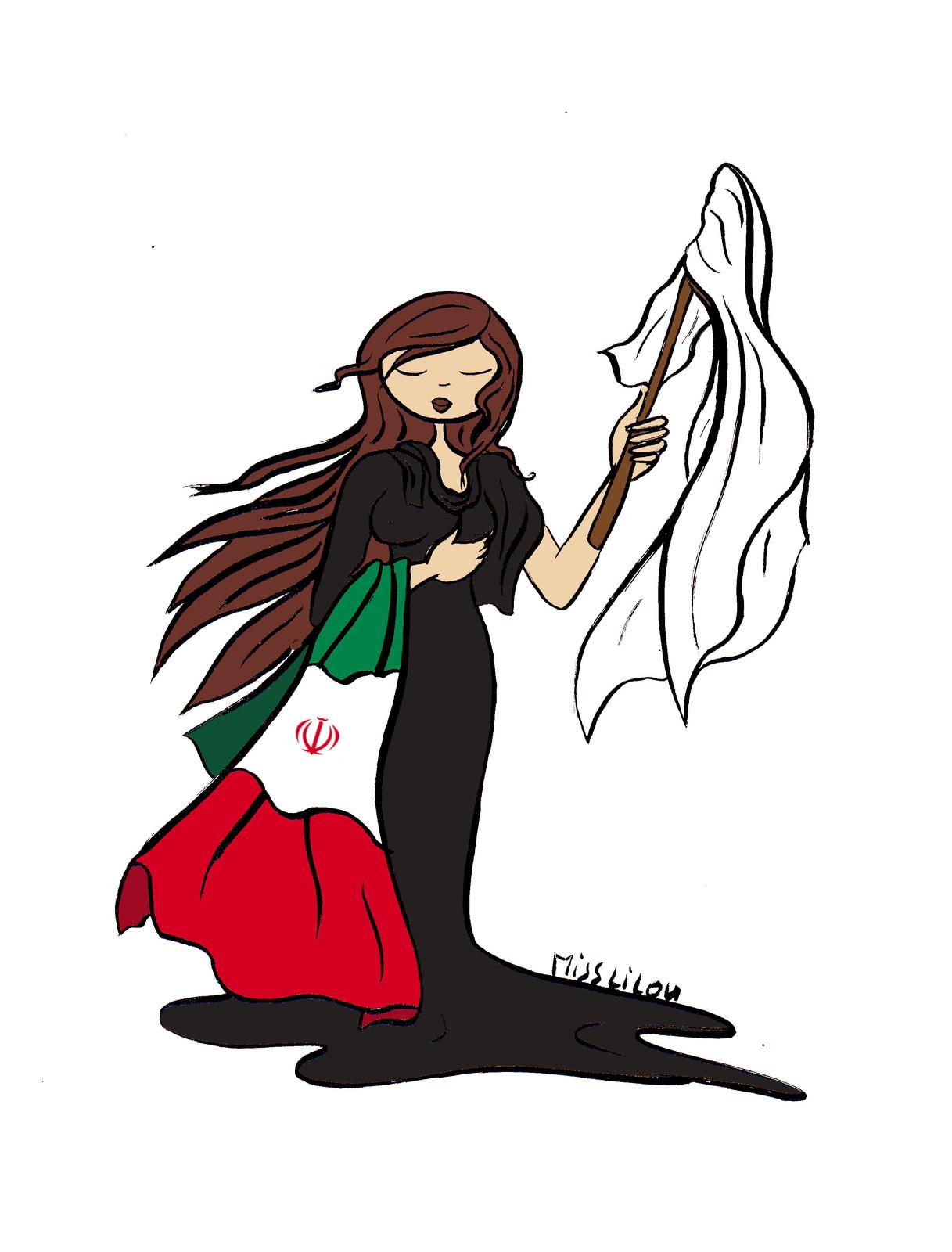 dessin humoristique d'une Iranienne qui enlève son voile islamique