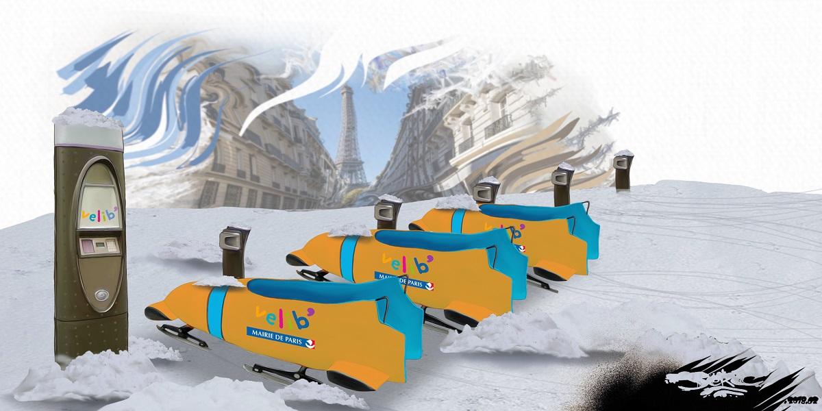 dessin humoristique des nouveaux vélib de Paris adaptés à la neige