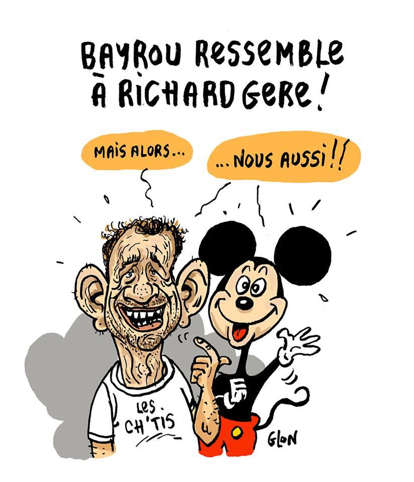 dessin humoristique de Dany Boon et Mickey prétendant comme François Bayrou ressembler à Richard Gere