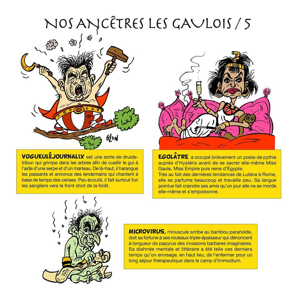dessin humoristique des politiques français en habitants du village gaulois d'Astérix