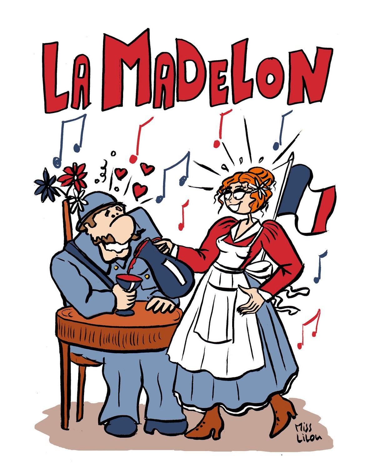 """dessin humoristique illustrant la chanson de guerre """"La Madelon"""""""