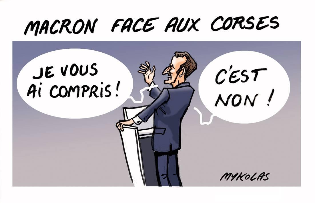 dessin drôle d'Emmanuel Macron imitant Charlers de Gaulle face aux Corses
