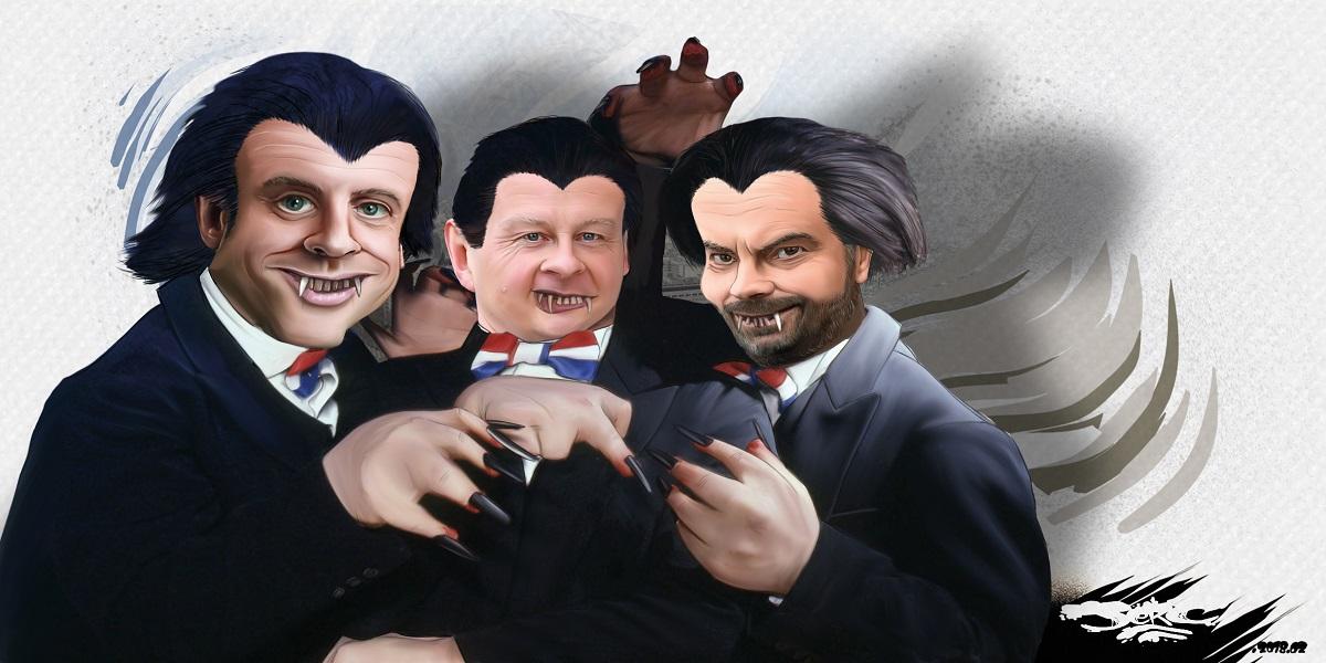 dessin drôle d'Emmanuel Macron, Bruno Le Maire et Edouard Philippe en vapires des impôts