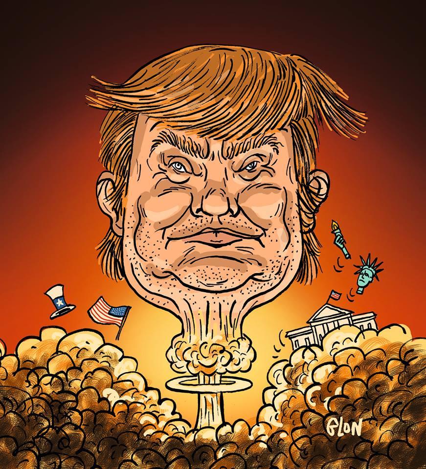 dessin humoristique de Trump en champignon atomique