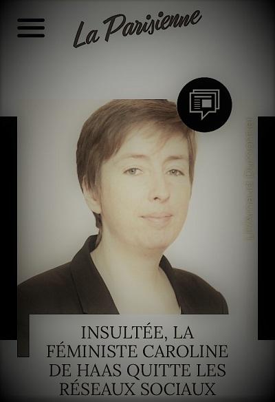 copie d'écran d'actualité parlant du départ des réseaux sociaux de la féministe Caroline de Haas