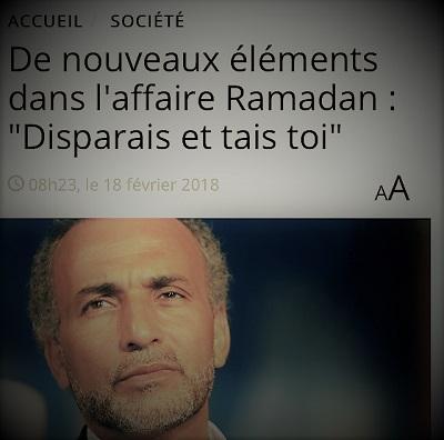 copie d'écran d'actualité parlant du comportement de Tariq Ramadan avec les femmes