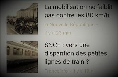 copie d'écran d'actualités parlant de la limitation à 80 km/h et du démantèlement de la SNCF
