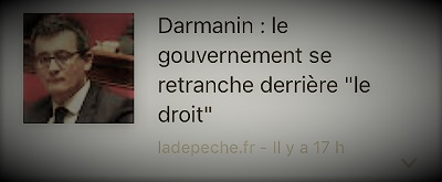 copie d'écran d'actualité parlant de l'éventuel démission de Darmanin