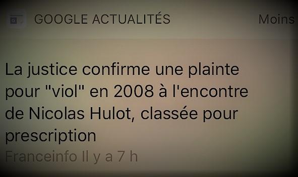 """copie d'écran de la plainte pour """"viol"""" à l'encontre de Nicolas Hulot"""