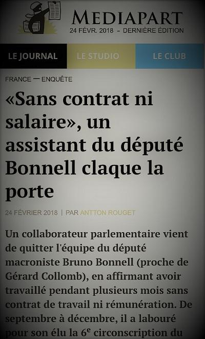 copie d'écran d'actualité parlant du député du Rhône Bruno Bonnell et de l'exploitation de ses assistants
