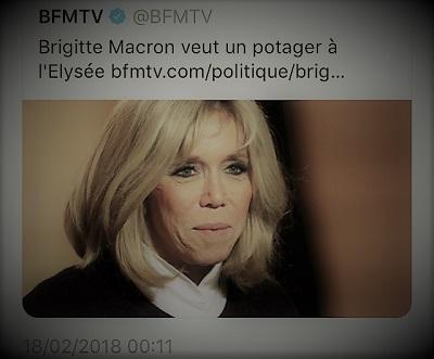 copie d'écran d'actualité parlant du potager que veut Brigitte Macron à l'Elysée