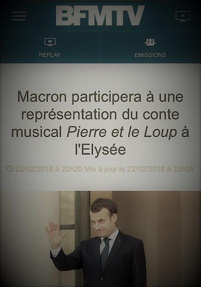 copie d'écran d'actualités expliquant qu'Emmanuel Macron va jouer dans le conte musical Pierre et le loup