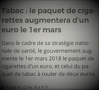 copie d'écran d'actualités parlant de l'augmentation du prix de la cigarette