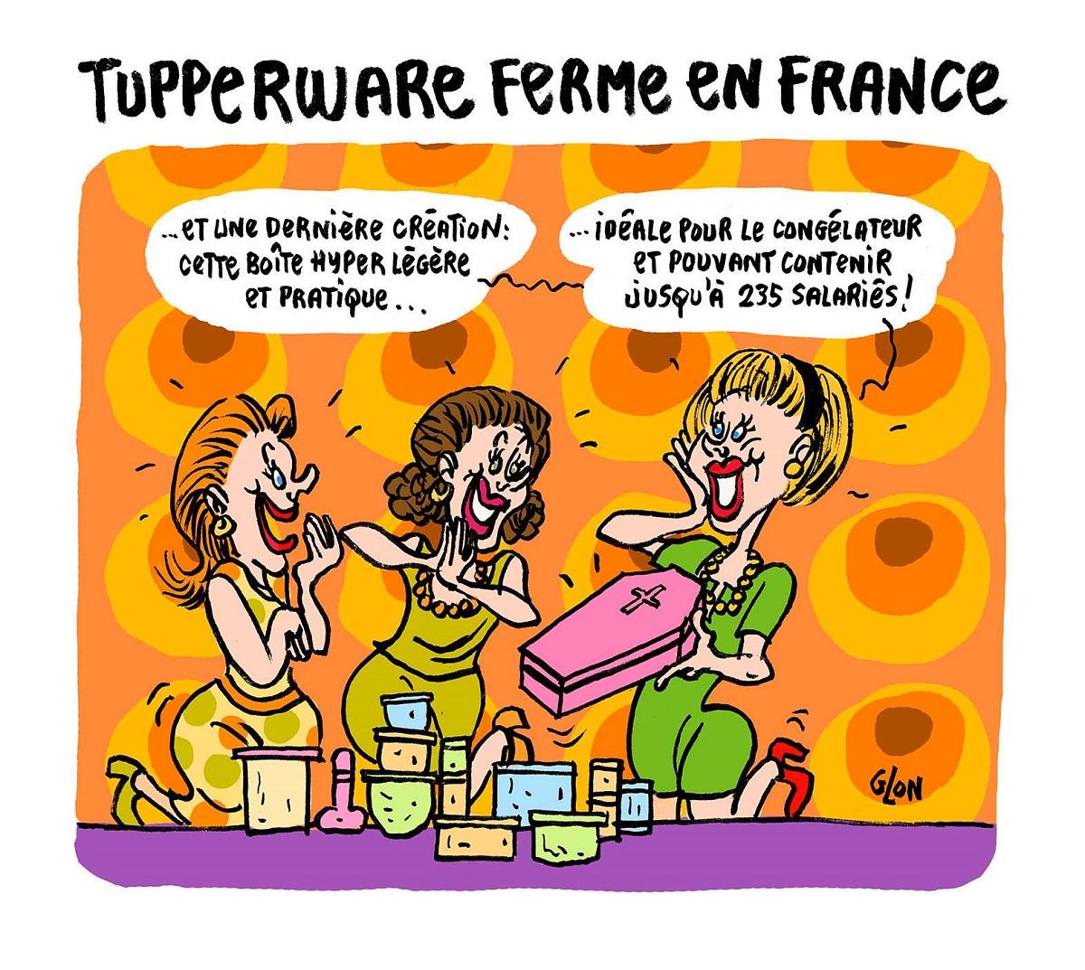 dessin humoristique d'une réunion Tupperware
