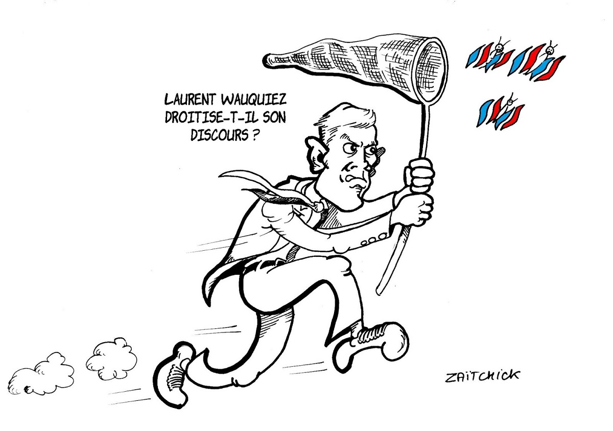 dessin drôle de Laurent Wauquiez en train de chasser le papillon nationaliste