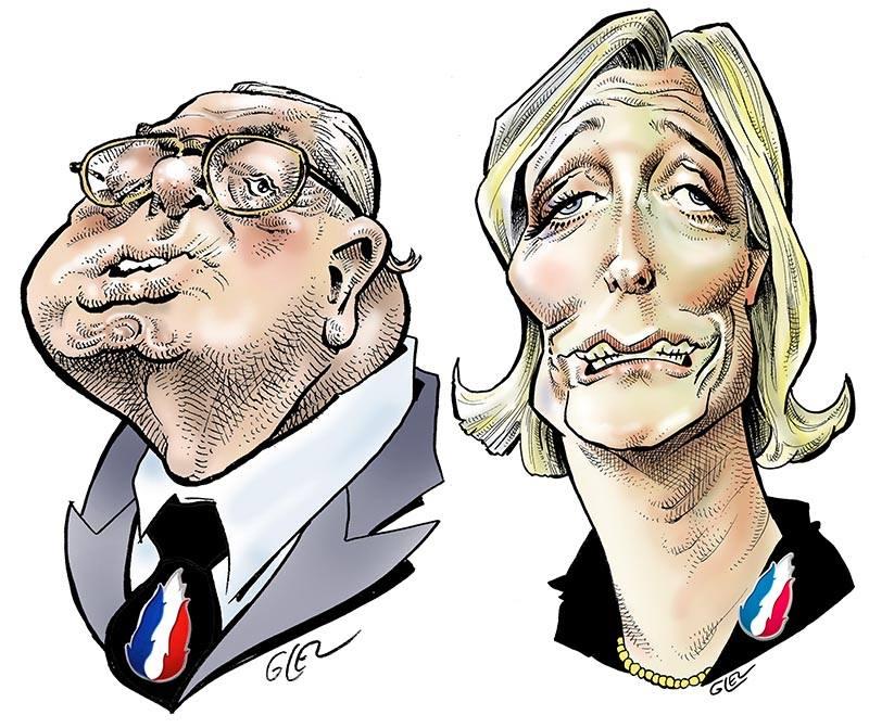 dessin humoristique de Marine Le Pen et Jean-Marie Le Pen