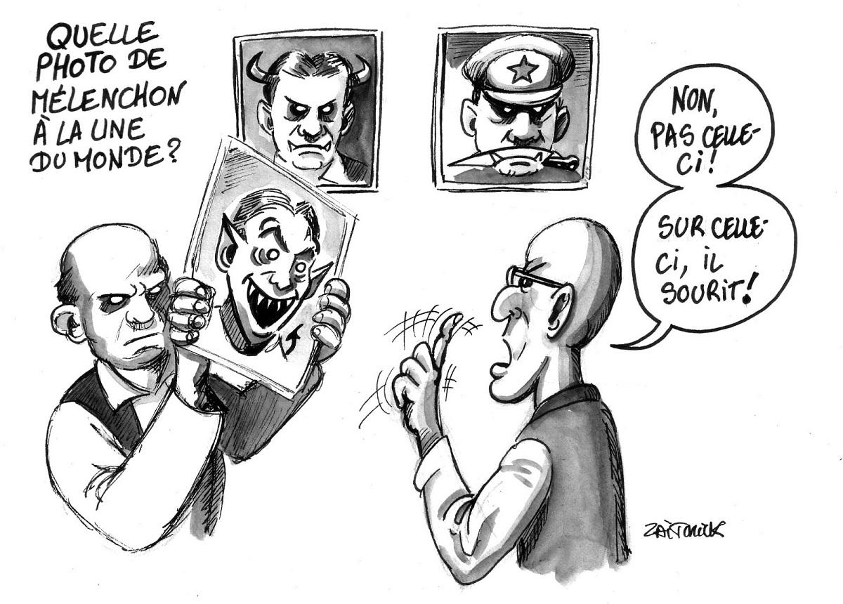 dessin humoristique de journalistes du Monde sélectionnant la photo de Mélenchon pour la une